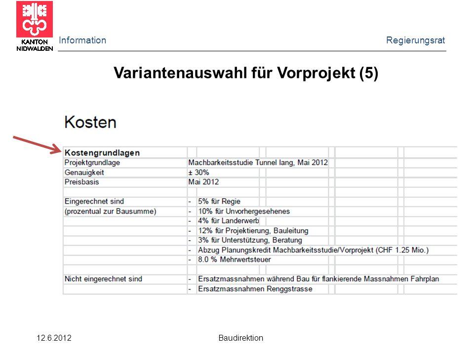 Information Regierungsrat 12.6.2012 Baudirektion Variantenauswahl für Vorprojekt (5)