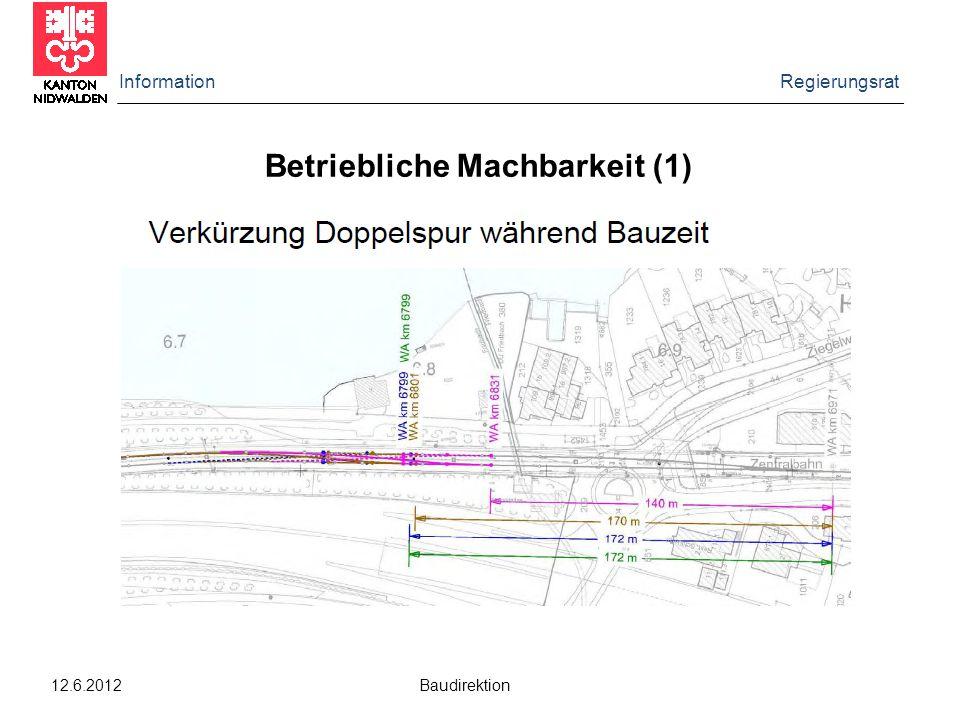Information Regierungsrat 12.6.2012 Baudirektion Betriebliche Machbarkeit (1)