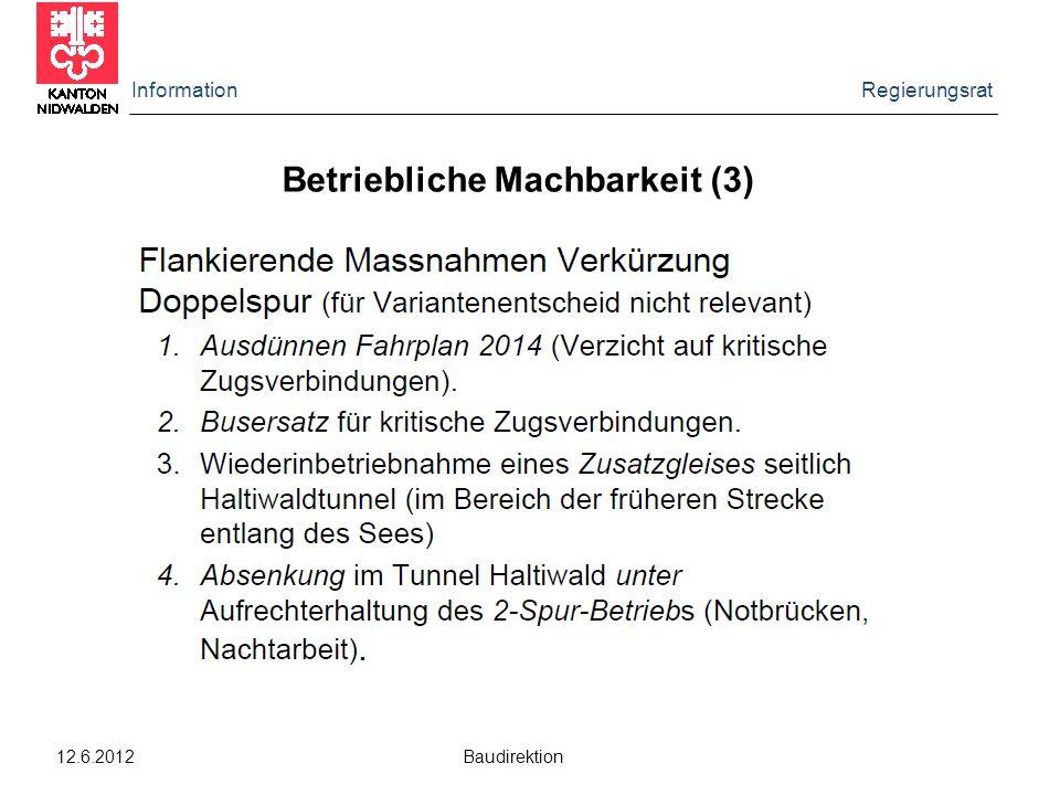Information Regierungsrat 12.6.2012 Baudirektion Betriebliche Machbarkeit (3)