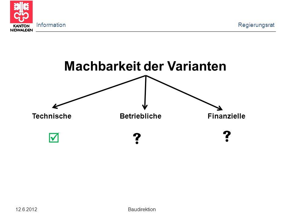 Information Regierungsrat 12.6.2012 Baudirektion Machbarkeit der Varianten TechnischeBetrieblicheFinanzielle   