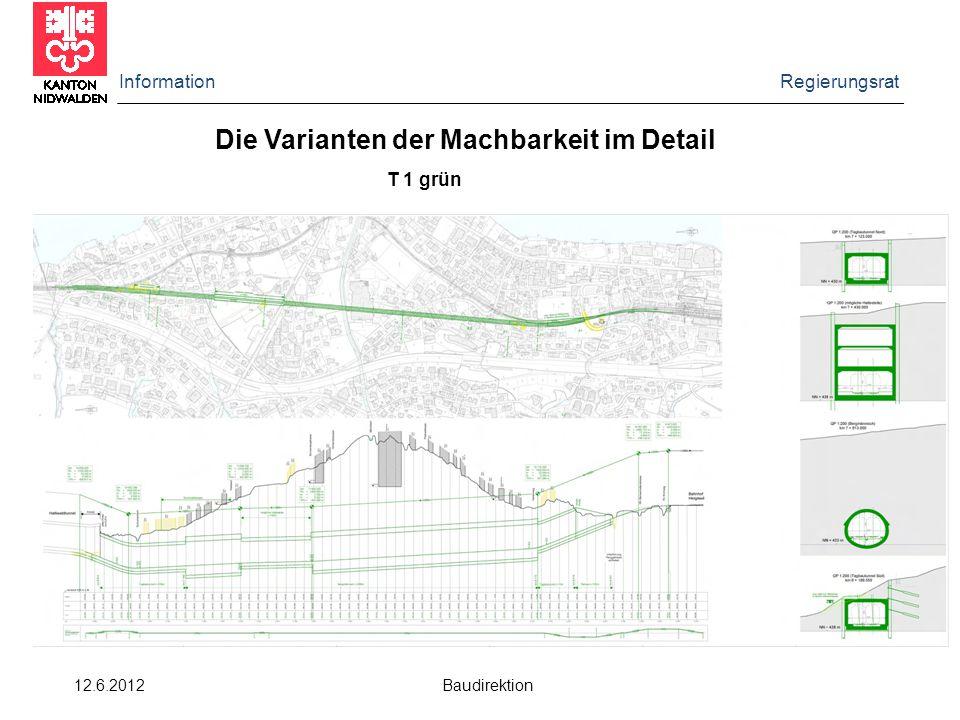 Information Regierungsrat 12.6.2012 Baudirektion Die Varianten der Machbarkeit im Detail T 1 grün