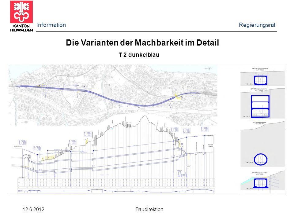 Information Regierungsrat 12.6.2012 Baudirektion Die Varianten der Machbarkeit im Detail T 2 dunkelblau