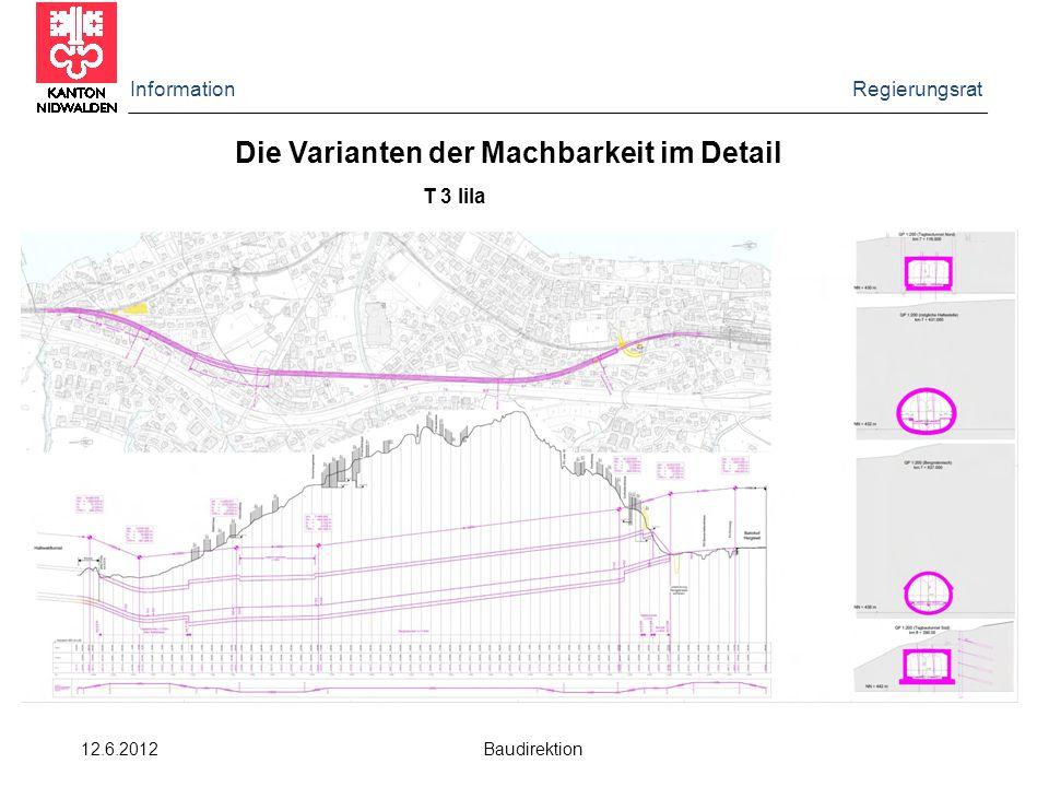 Information Regierungsrat 12.6.2012 Baudirektion Die Varianten der Machbarkeit im Detail T 3 lila
