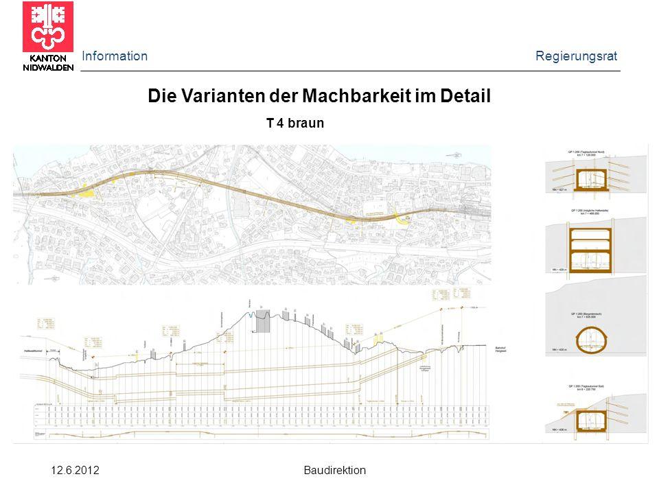 Information Regierungsrat 12.6.2012 Baudirektion Die Varianten der Machbarkeit im Detail T 4 braun