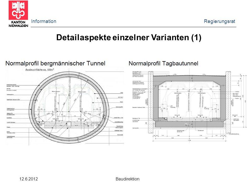 Information Regierungsrat 12.6.2012 Baudirektion Detailaspekte einzelner Varianten (1)