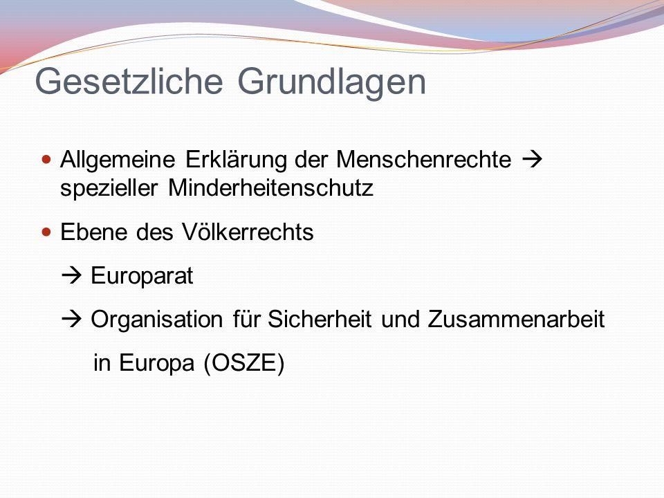 Gesetzliche Grundlagen Allgemeine Erklärung der Menschenrechte  spezieller Minderheitenschutz Ebene des Völkerrechts  Europarat  Organisation für S