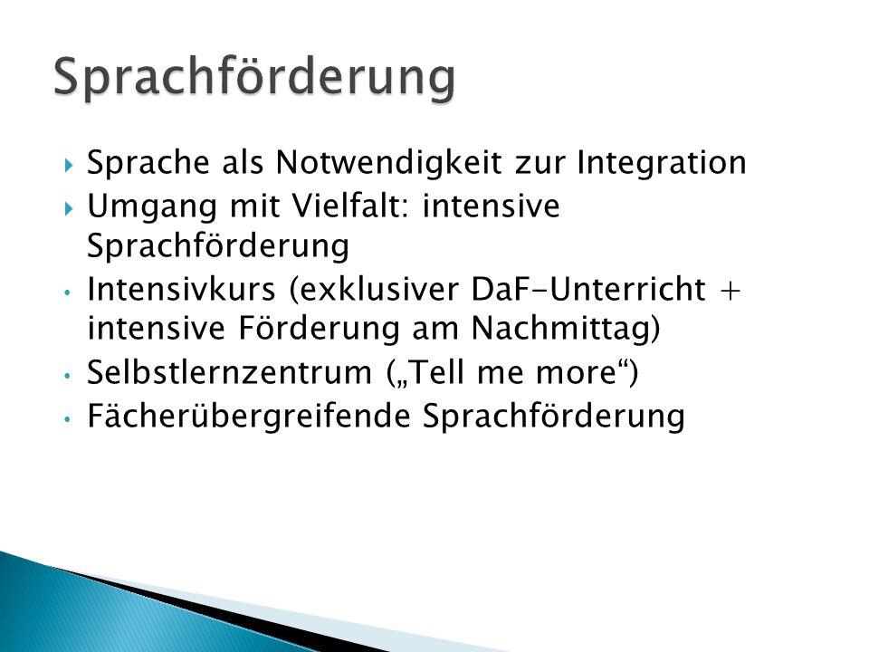 Integrativ: - Selbstlernzentrum - Intensivkurs Inklusiv: - Sprachförderung fächerübergreifend