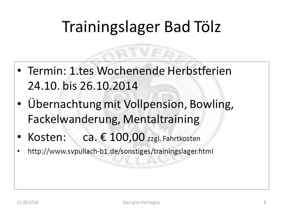 Trainingslager Bad Tölz Termin: 1.tes Wochenende Herbstferien 24.10.
