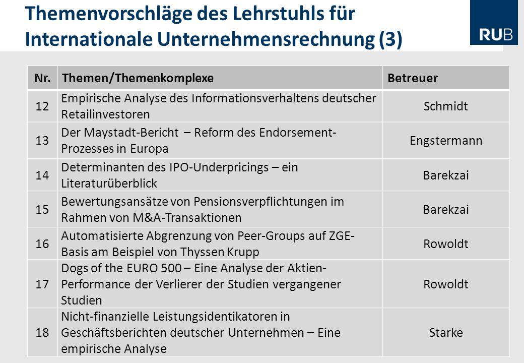 13 Themenvorschläge des Lehrstuhls für Internationale Unternehmensrechnung (3) Nr.Themen/ThemenkomplexeBetreuer 12 Empirische Analyse des Informations