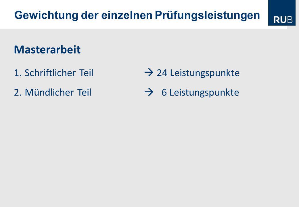 Gewichtung der einzelnen Prüfungsleistungen Masterarbeit 1.Schriftlicher Teil  24 Leistungspunkte 2.Mündlicher Teil  6 Leistungspunkte