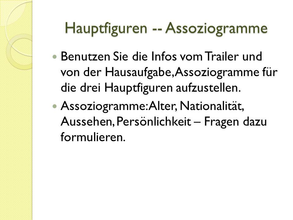 Hauptfiguren -- Assoziogramme Benutzen Sie die Infos vom Trailer und von der Hausaufgabe, Assoziogramme für die drei Hauptfiguren aufzustellen.