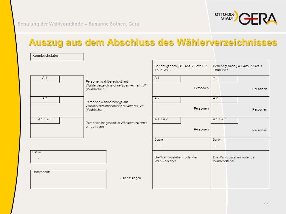 Schulung der Wahlvorstände – Susanne Sothen, Gera Auszug aus dem Abschluss des Wählerverzeichnisses 14 Kennbuchstabe Berichtigt nach § 49 Abs. 2 Satz