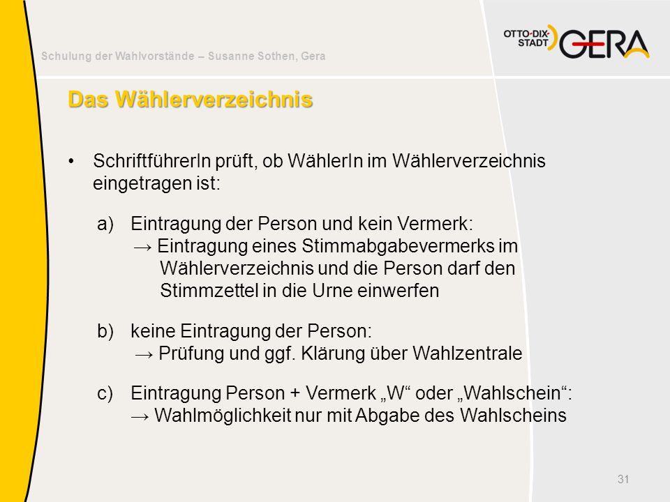 Schulung der Wahlvorstände – Susanne Sothen, Gera Das Wählerverzeichnis SchriftführerIn prüft, ob WählerIn im Wählerverzeichnis eingetragen ist: a)Ein