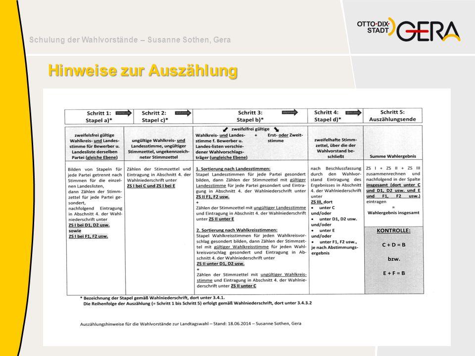 Schulung der Wahlvorstände – Susanne Sothen, Gera 34 Hinweise zur Auszählung