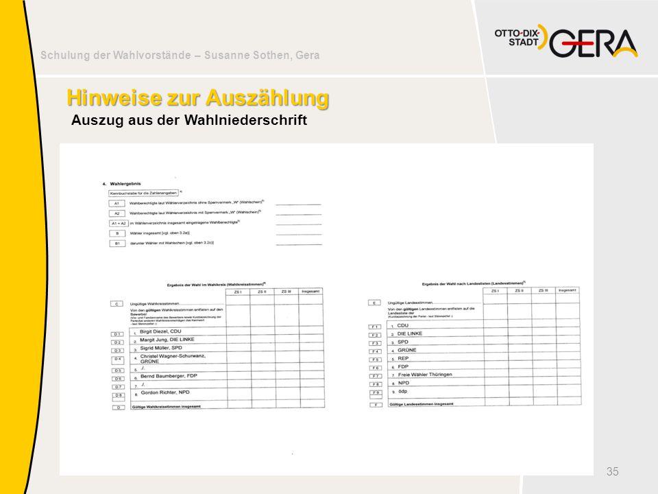 Schulung der Wahlvorstände – Susanne Sothen, Gera Hinweise zur Auszählung Auszug aus der Wahlniederschrift 35