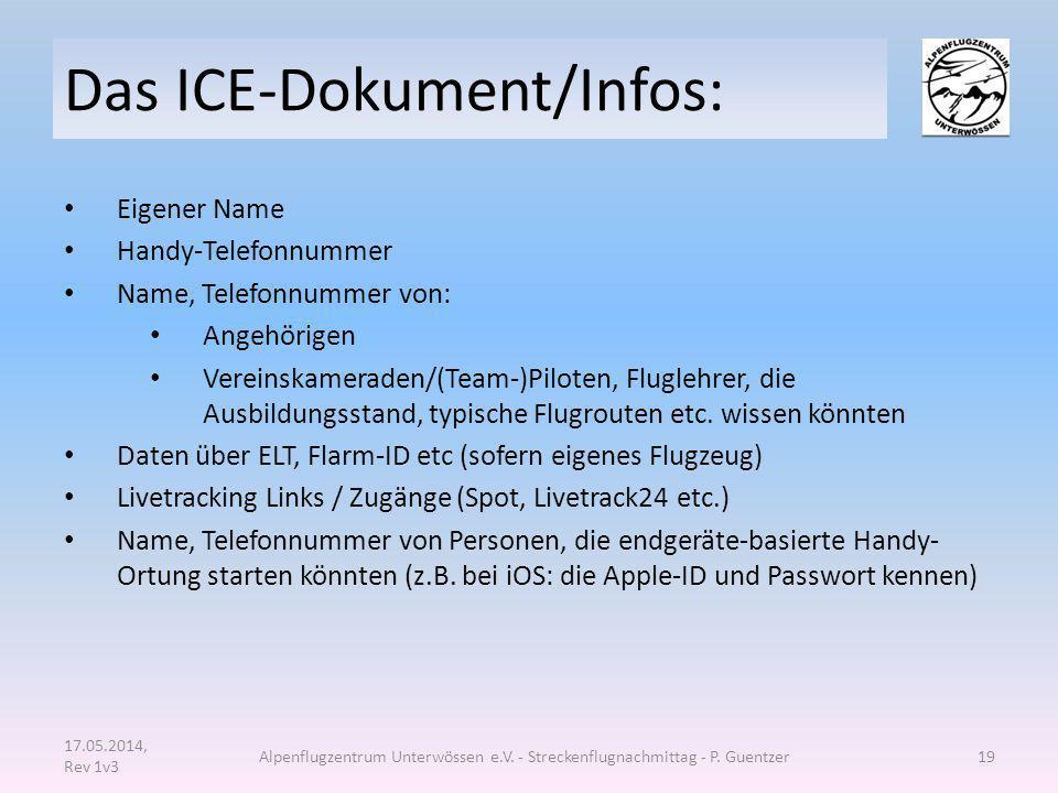 Das ICE-Dokument/Infos: Eigener Name Handy-Telefonnummer Name, Telefonnummer von: Angehörigen Vereinskameraden/(Team-)Piloten, Fluglehrer, die Ausbild