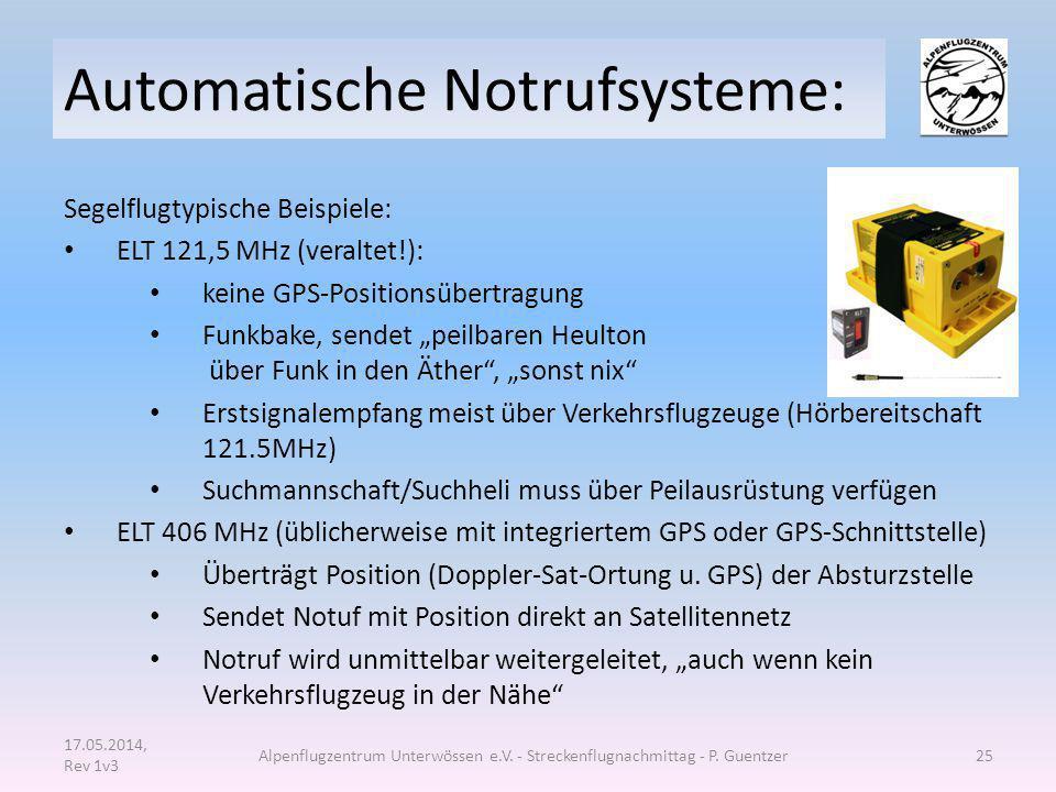 """Automatische Notrufsysteme: Segelflugtypische Beispiele: ELT 121,5 MHz (veraltet!): keine GPS-Positionsübertragung Funkbake, sendet """"peilbaren Heulton"""