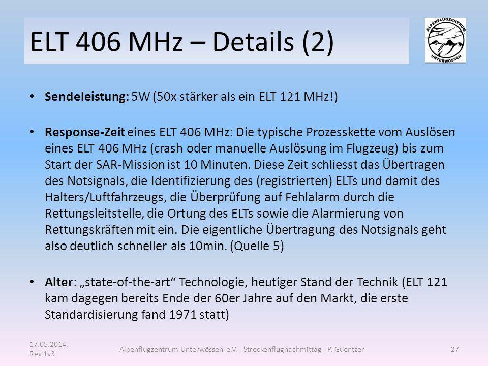 ELT 406 MHz – Details (2) Sendeleistung: 5W (50x stärker als ein ELT 121 MHz!) Response-Zeit eines ELT 406 MHz: Die typische Prozesskette vom Auslösen