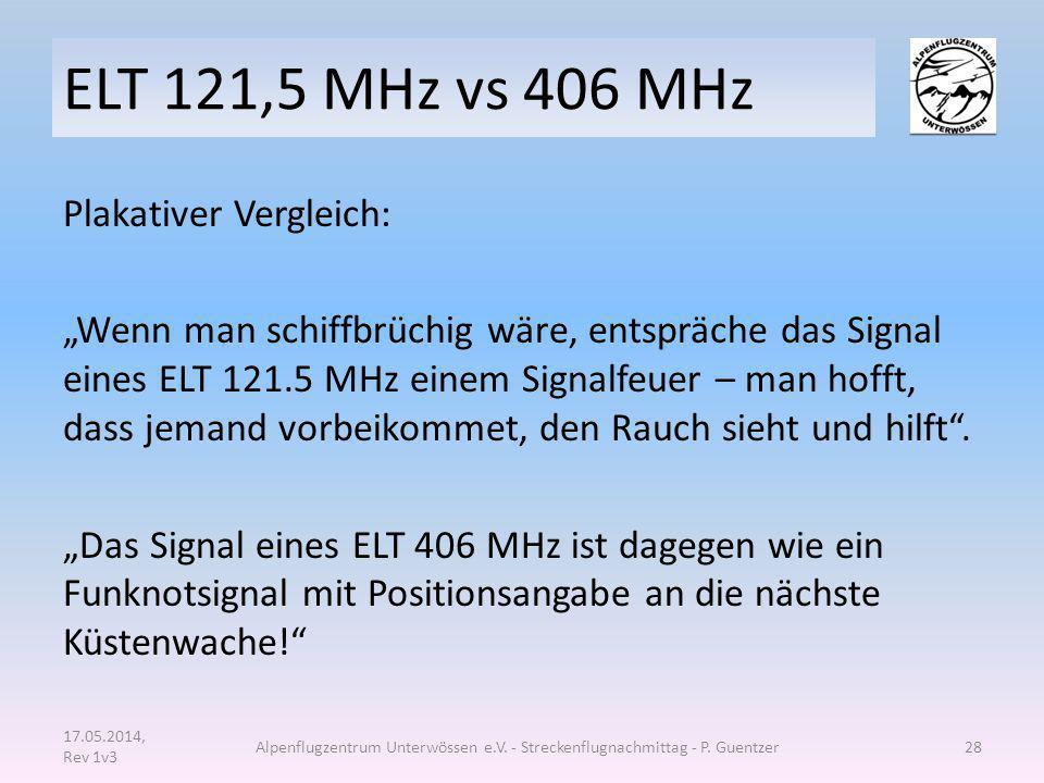 """ELT 121,5 MHz vs 406 MHz Plakativer Vergleich: """"Wenn man schiffbrüchig wäre, entspräche das Signal eines ELT 121.5 MHz einem Signalfeuer – man hofft,"""