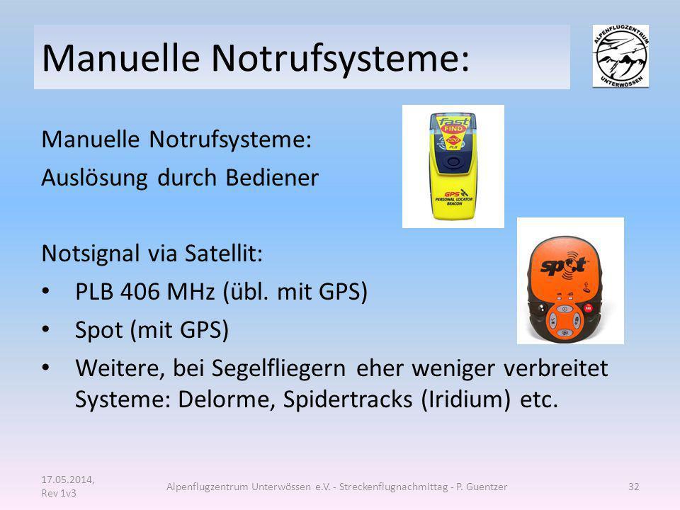 Manuelle Notrufsysteme: Auslösung durch Bediener Notsignal via Satellit: PLB 406 MHz (übl. mit GPS) Spot (mit GPS) Weitere, bei Segelfliegern eher wen
