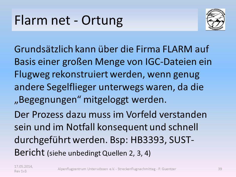 Flarm net - Ortung Grundsätzlich kann über die Firma FLARM auf Basis einer großen Menge von IGC-Dateien ein Flugweg rekonstruiert werden, wenn genug a