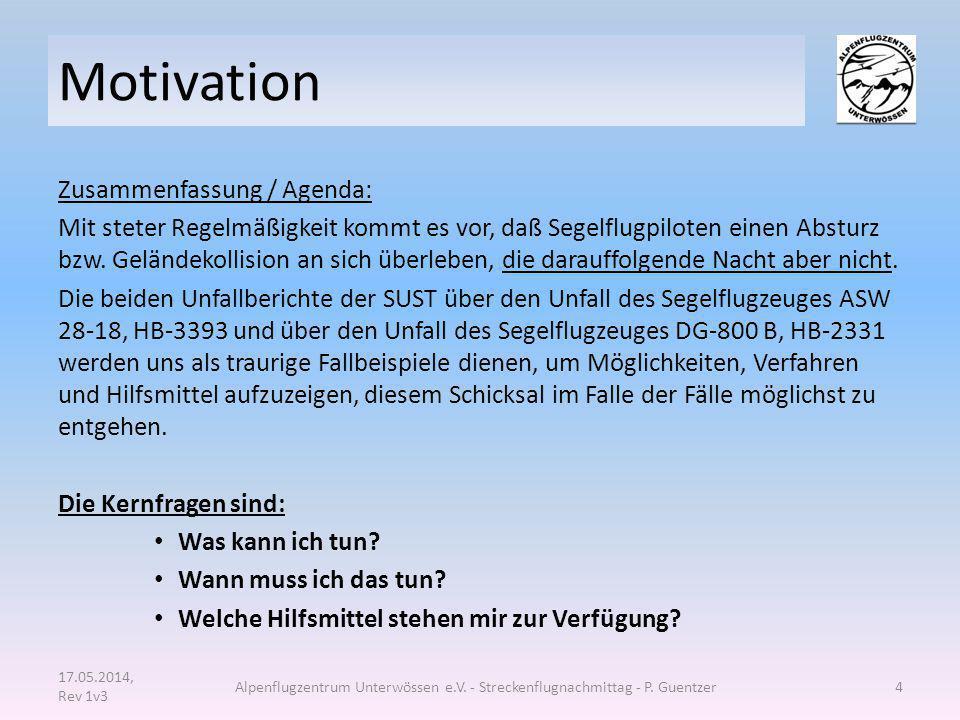 Motivation Zusammenfassung / Agenda: Mit steter Regelmäßigkeit kommt es vor, daß Segelflugpiloten einen Absturz bzw. Geländekollision an sich überlebe