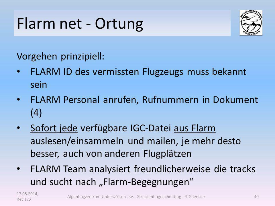 Flarm net - Ortung Vorgehen prinzipiell: FLARM ID des vermissten Flugzeugs muss bekannt sein FLARM Personal anrufen, Rufnummern in Dokument (4) Sofort
