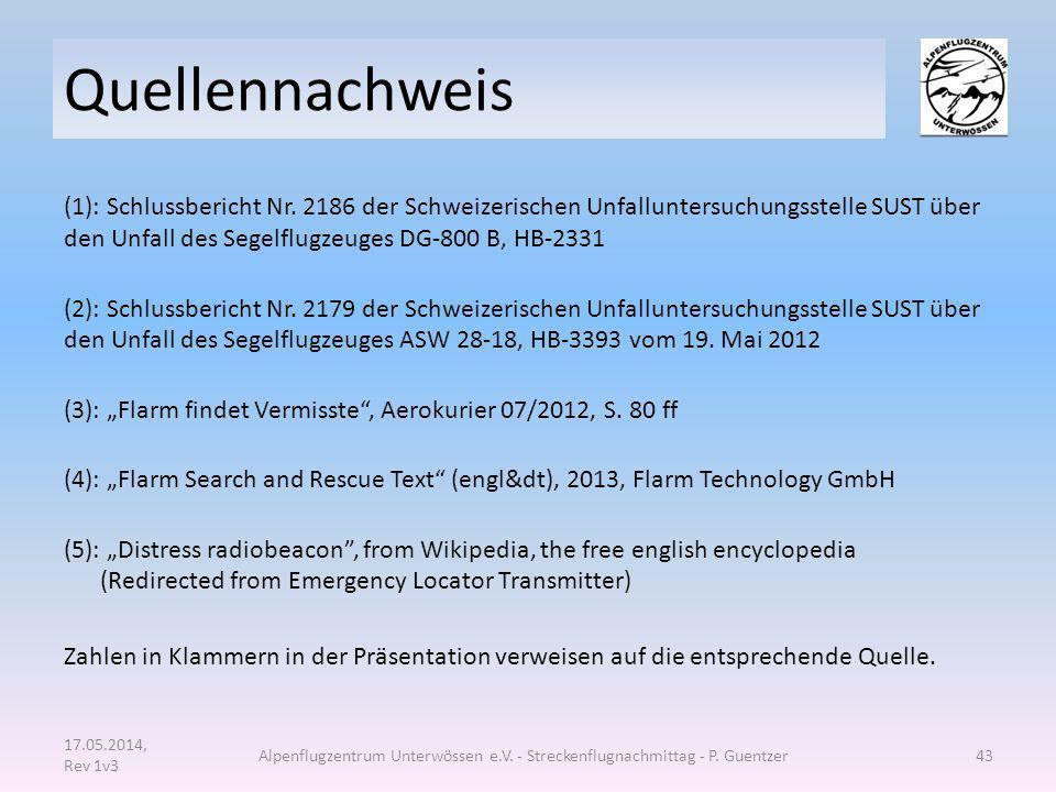 Quellennachweis (1): Schlussbericht Nr. 2186 der Schweizerischen Unfalluntersuchungsstelle SUST über den Unfall des Segelflugzeuges DG-800 B, HB-2331