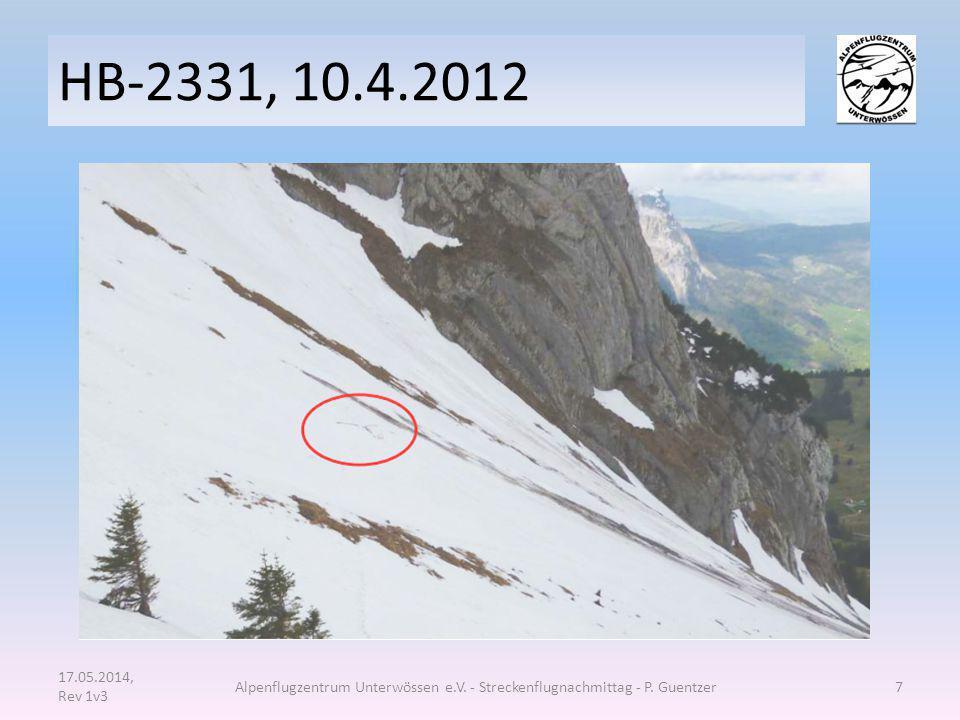HB-2331, 10.4.2012 (siehe Quelle 1) keine Anhaltspunkte für vorbestandene technische Mängel am Flugzeug Die Verletzungen, die der Pilot beim Unfall erlitt, führten nicht unmittelbar zu seinem Tod.