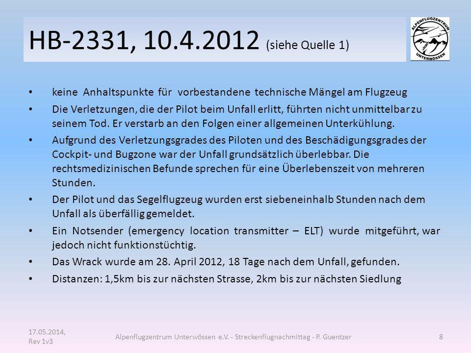 HB-2331, 10.4.2012 (siehe Quelle 1) keine Anhaltspunkte für vorbestandene technische Mängel am Flugzeug Die Verletzungen, die der Pilot beim Unfall er