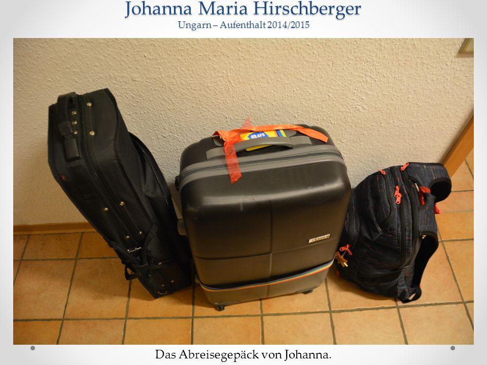 Johanna Maria Hirschberger Ungarn – Aufenthalt 2014/2015 Das Abreisegepäck von Johanna.