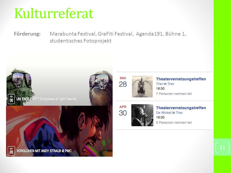 Kulturreferat 11 Förderung: Marabunta Festival, GraFiti Festival, Agenda191, Bühne 1, studentisches Fotoprojekt