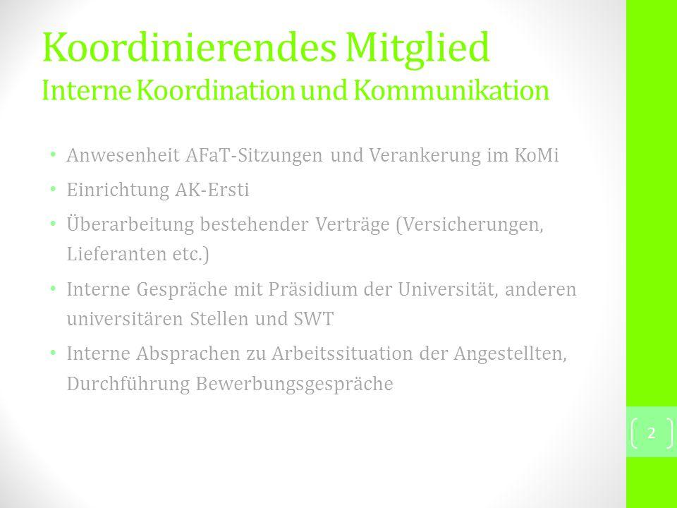 Planung und Durchführung von Vorträgen,Podiumsdiskussionen, Workshops etc.