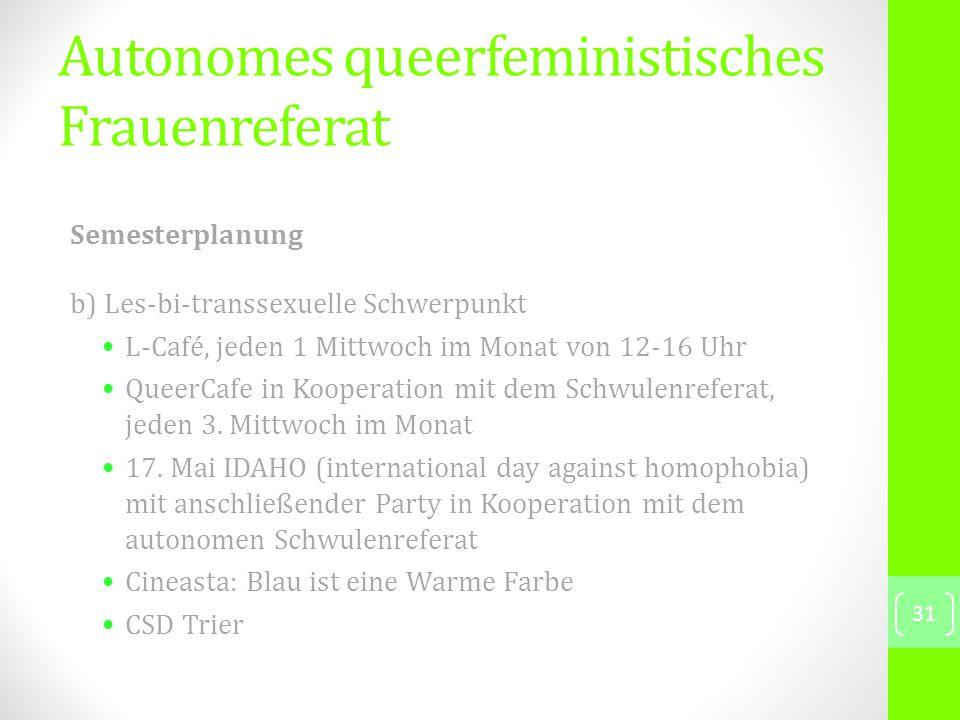 Semesterplanung b) Les-bi-transsexuelle Schwerpunkt L-Café, jeden 1 Mittwoch im Monat von 12-16 Uhr QueerCafe in Kooperation mit dem Schwulenreferat, jeden 3.