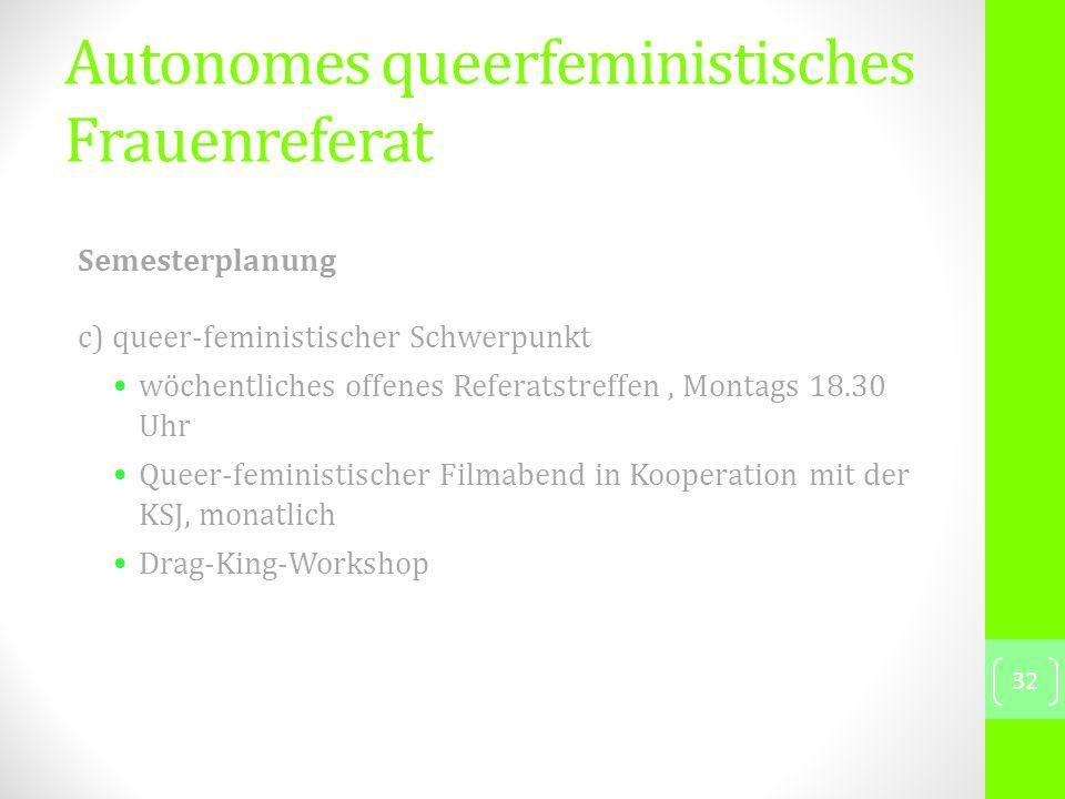 Semesterplanung c) queer-feministischer Schwerpunkt wöchentliches offenes Referatstreffen, Montags 18.30 Uhr Queer-feministischer Filmabend in Kooperation mit der KSJ, monatlich Drag-King-Workshop 32 Autonomes queerfeministisches Frauenreferat