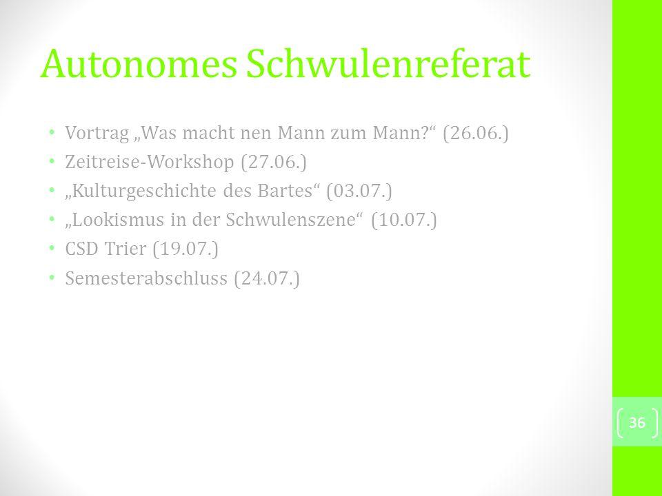 """Vortrag """"Was macht nen Mann zum Mann (26.06.) Zeitreise-Workshop (27.06.) """"Kulturgeschichte des Bartes (03.07.) """"Lookismus in der Schwulenszene (10.07.) CSD Trier (19.07.) Semesterabschluss (24.07.) 36 Autonomes Schwulenreferat"""