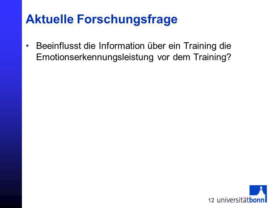 Aktuelle Forschungsfrage Beeinflusst die Information über ein Training die Emotionserkennungsleistung vor dem Training? 12