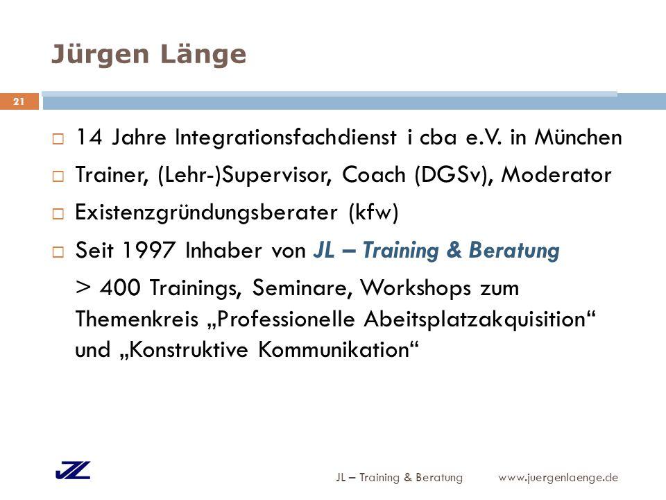 Jürgen Länge JL – Training & Beratung www.juergenlaenge.de  14 Jahre Integrationsfachdienst i cba e.V. in München  Trainer, (Lehr-)Supervisor, Coach
