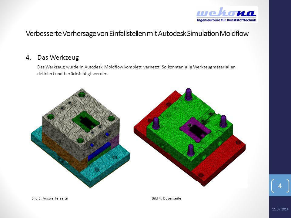 4 4.Das Werkzeug Das Werkzeug wurde in Autodesk Moldflow komplett vernetzt. So konnten alle Werkzeugmaterialien definiert und berücksichtigt werden. B