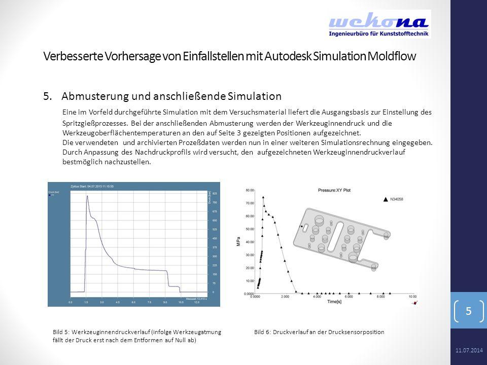 5 5.Abmusterung und anschließende Simulation Eine im Vorfeld durchgeführte Simulation mit dem Versuchsmaterial liefert die Ausgangsbasis zur Einstellu