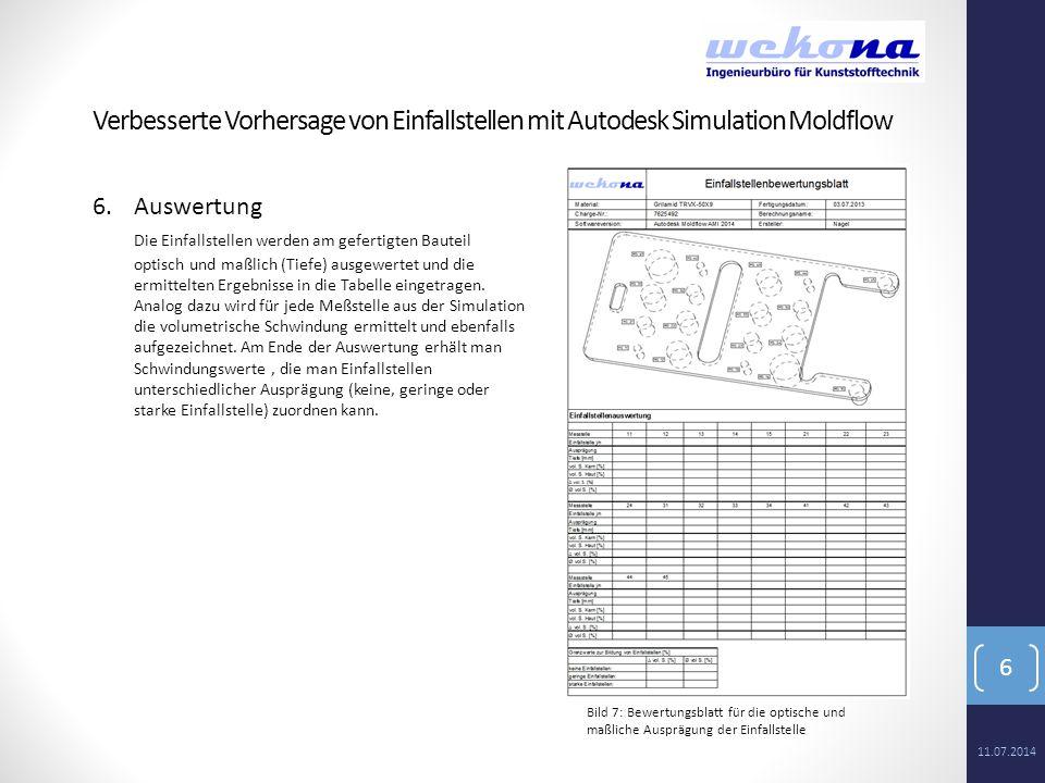 6 6.Auswertung Die Einfallstellen werden am gefertigten Bauteil optisch und maßlich (Tiefe) ausgewertet und die ermittelten Ergebnisse in die Tabelle