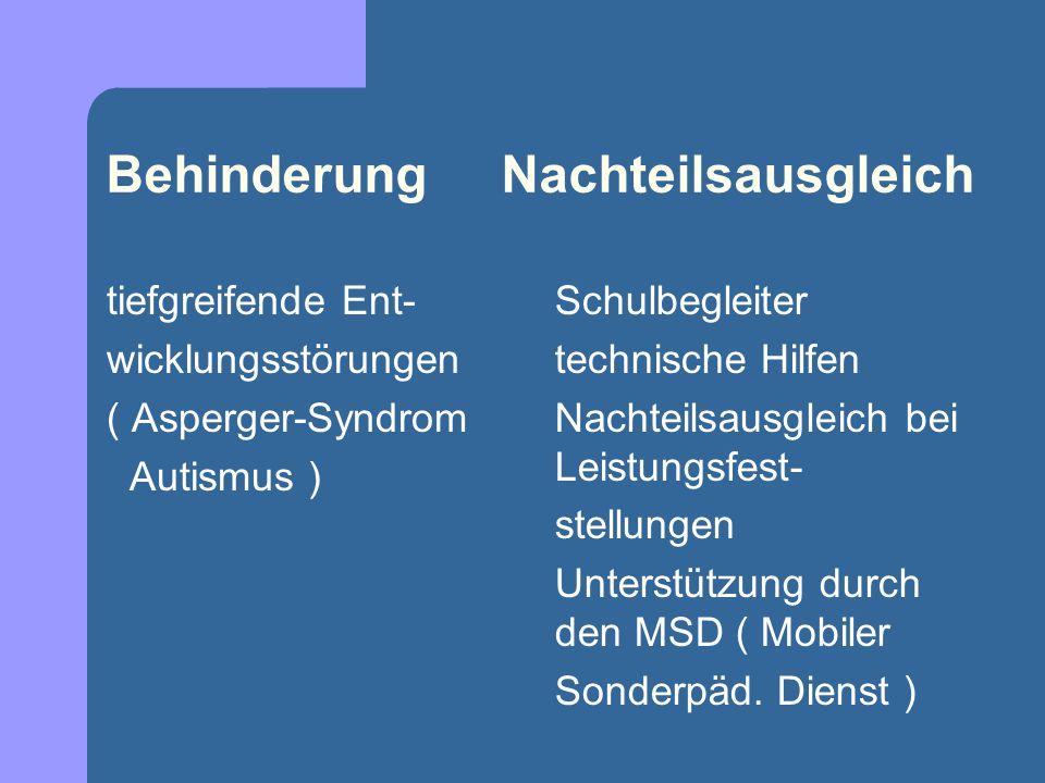 Behinderung Nachteilsausgleich tiefgreifende Ent- wicklungsstörungen ( Asperger-Syndrom Autismus ) Schulbegleiter technische Hilfen Nachteilsausgleich bei Leistungsfest- stellungen Unterstützung durch den MSD ( Mobiler Sonderpäd.