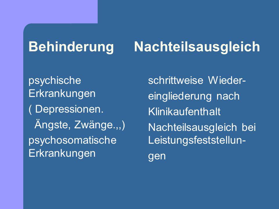 Behinderung Nachteilsausgleich psychische Erkrankungen ( Depressionen. Ängste, Zwänge.,,) psychosomatische Erkrankungen schrittweise Wieder- eingliede