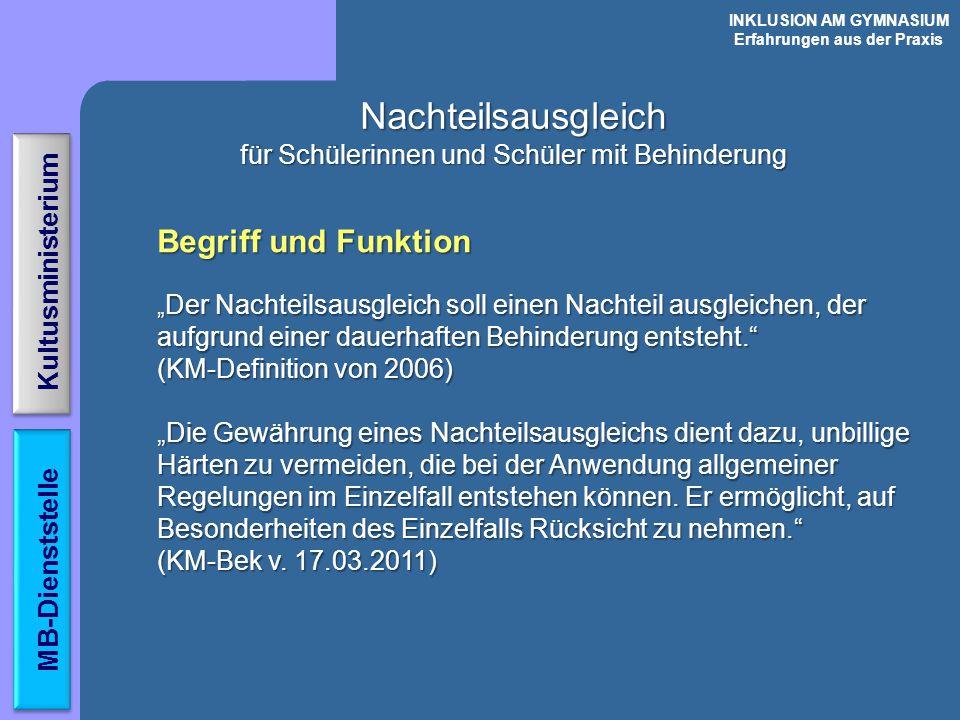 Behinderung Nachteilsausgleich Körperbehinderungen Sinnesbehinderungen - Sehbehinderung - Hörbehinderung Organische Erkran- kungen ( Leukämie,.