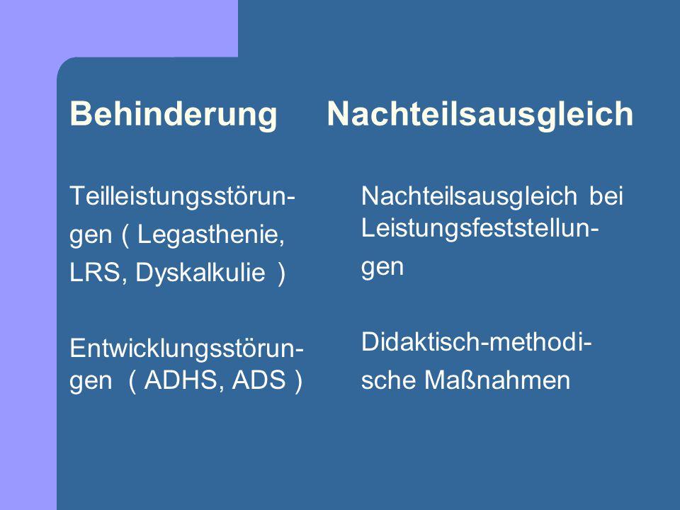 Behinderung Nachteilsausgleich Teilleistungsstörun- gen ( Legasthenie, LRS, Dyskalkulie ) Entwicklungsstörun- gen ( ADHS, ADS ) Nachteilsausgleich bei Leistungsfeststellun- gen Didaktisch-methodi- sche Maßnahmen