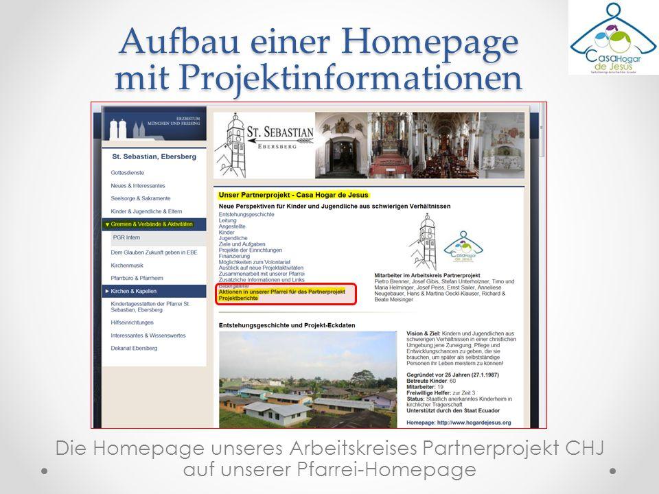 Die Homepage unseres Arbeitskreises Partnerprojekt CHJ auf unserer Pfarrei-Homepage Aufbau einer Homepage mit Projektinformationen