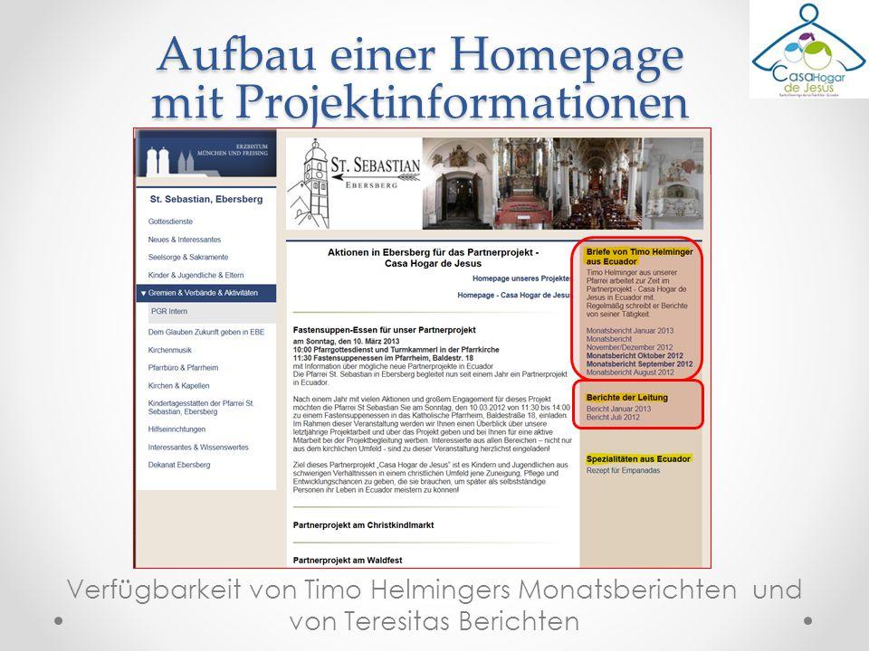Verfügbarkeit von Timo Helmingers Monatsberichten und von Teresitas Berichten Aufbau einer Homepage mit Projektinformationen
