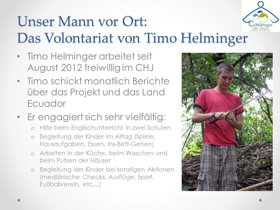 Timo Helminger arbeitet seit August 2012 freiwillig im CHJ Timo schickt monatlich Berichte über das Projekt und das Land Ecuador Er engagiert sich seh
