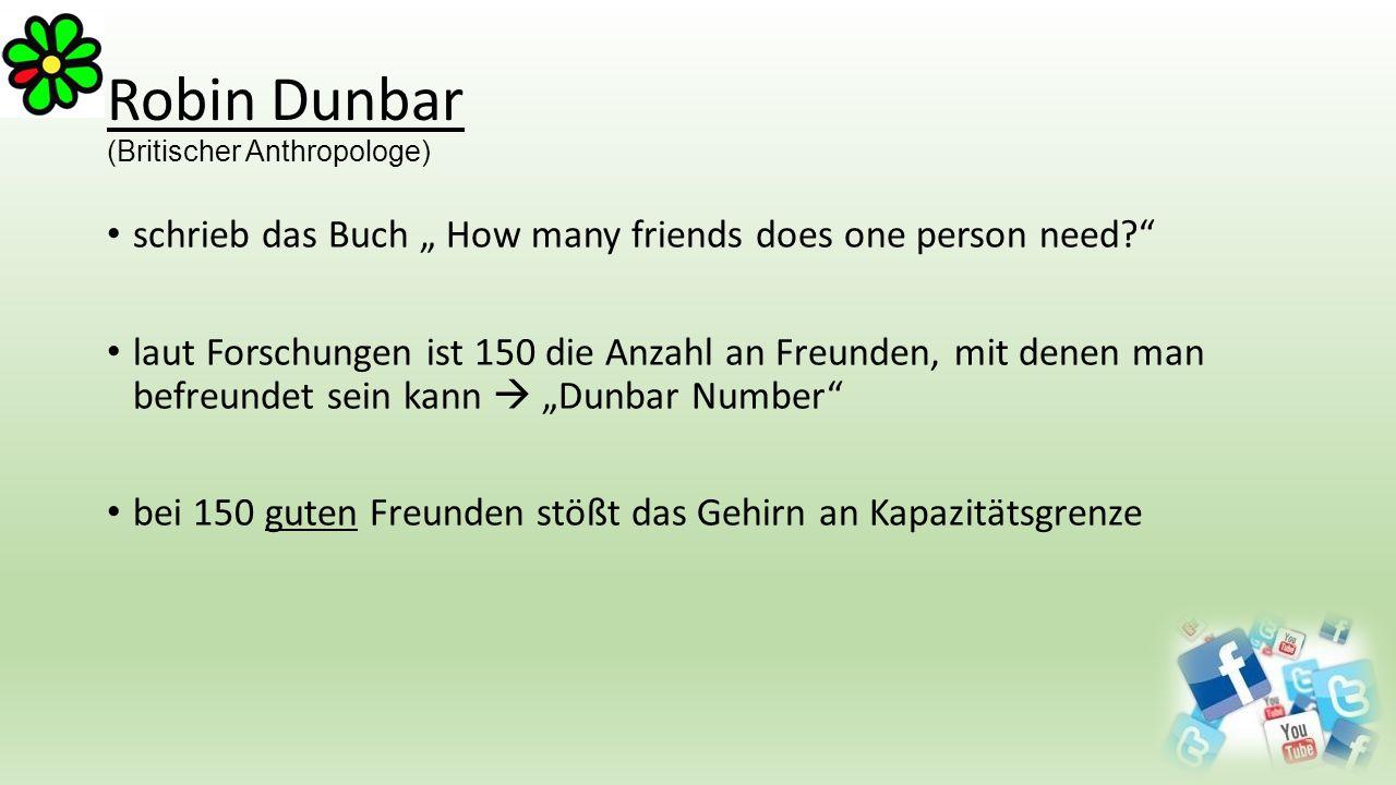 """Robin Dunbar (Britischer Anthropologe) schrieb das Buch """" How many friends does one person need?"""" laut Forschungen ist 150 die Anzahl an Freunden, mit"""