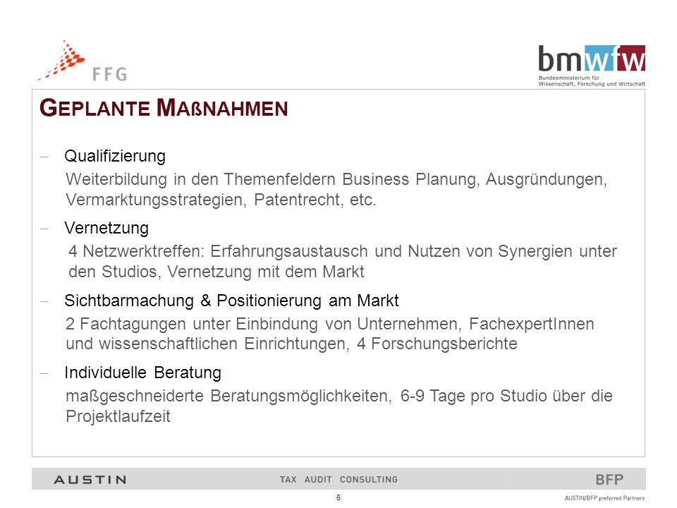 6 G EPLANTE M AßNAHMEN  Qualifizierung Weiterbildung in den Themenfeldern Business Planung, Ausgründungen, Vermarktungsstrategien, Patentrecht, etc.